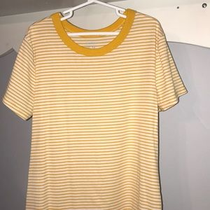 yellow and white stripped tee